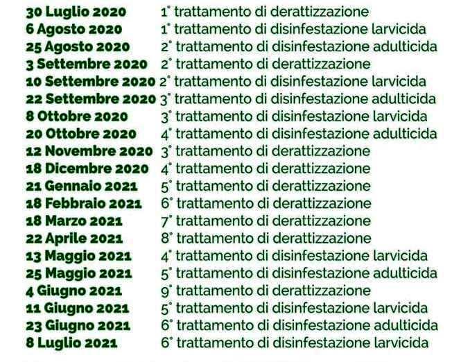 CALENDARIO INTERVENTI DI DISINFEZIONE, DISINFESTAZIONE E DERATTIZZAZIONE DELLE AREE COMUNALI A CURA DELL'ASL SALERNO.