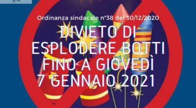 DIVIETO DI ESPLODERE BOTTI FINO A GIOVEDI' 7 GENNAIO 2021
