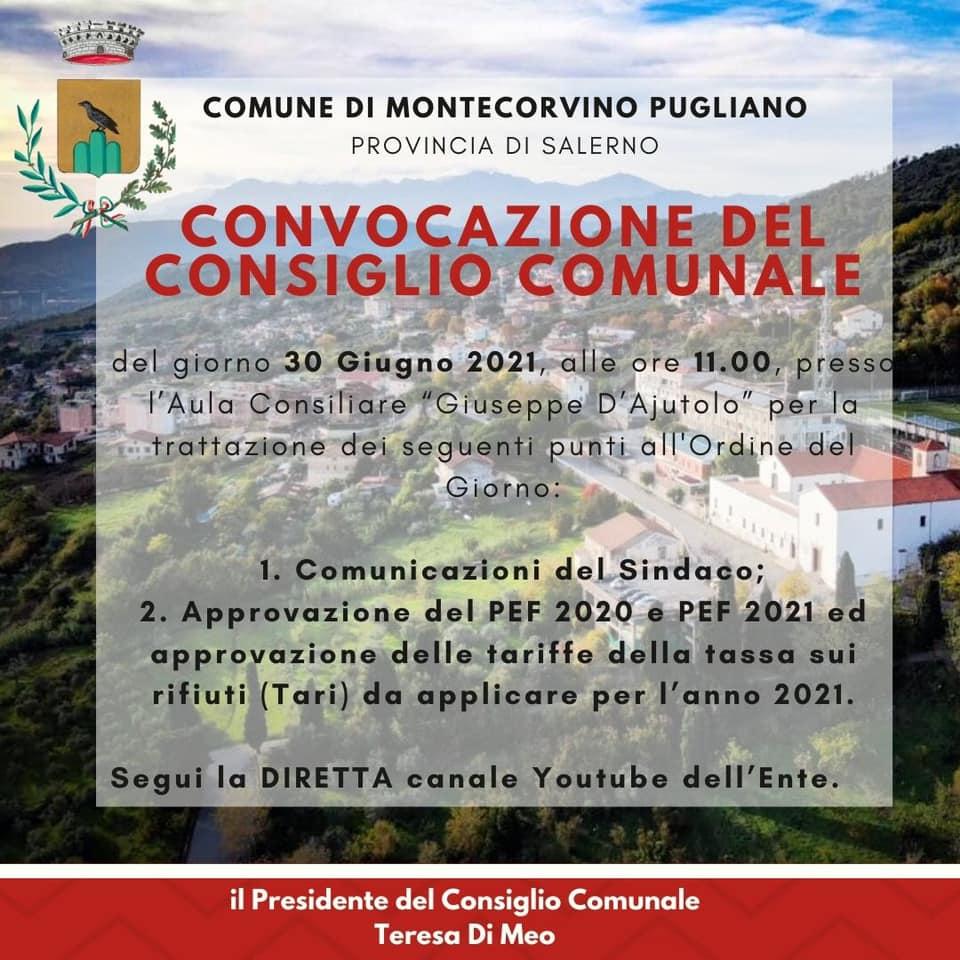 MERCOLEDÌ 30 GIUGNO IL CONSIGLIO COMUNALE TORNA IN PRESENZA DOPO QUATTORDICI MESI